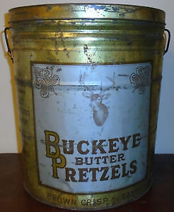 Vintage Advertising Tin With Handles Buckeye Butter Pretzels. Peterborough Peterborough Area image 3