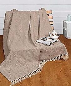 XL beige cotton throw - brand new