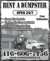 RENT A DUMPSTER !!! 416-606-7156