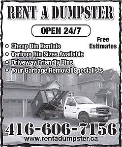 RENT A DUMPSTER !! 416-606-7156
