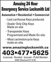 AMA/CAA-Mobile Locksmith / vehicle keys & home services