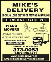 Moving Saskatoon: Piano Movers :VISA,M/C,Discover,Debit,Checks