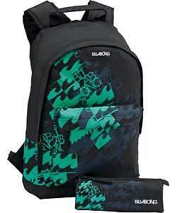 Billabong Black & Green Backpack Mens Boys Sports Bag - New