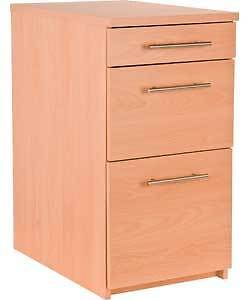 Filing Cabinet 3 Drawer Cupboard Beech Pedestal Office Furniture Storage Unit