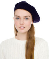 Women's French Wool Blend Beret Hat (Charcoal, Black, or Gray)
