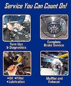 Brake pad change $45. Oil change $35, Shop open 7 days a week