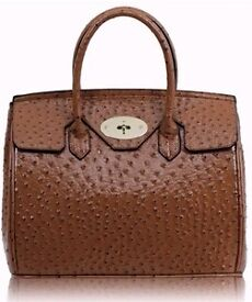 Designer LARGE Handbag Ostrich COFFEE like Hermes NEW