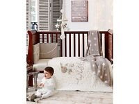 Will post. Cotbed / coverlet Mamas and papas Millie and Boris bedding bumper duvet 3d embroidered