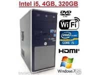 WINDOWS 7 PRO FAST VIGLEN TOWER COMPUTER PC INTEL CORE i5 4GB 320GB FREE WIFI