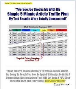 5 Minutes Article Traffic Plan Video Tutorials on CD