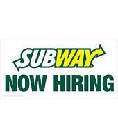 NOW HIRING Full-time Subway sandwich artists Ottawa, ON