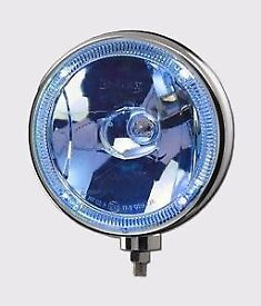 DRIVING LAMPS x 2 , BRITAX L28.01.12v 8'' Blue Tinted Glass Driving Lamp With 'Angel