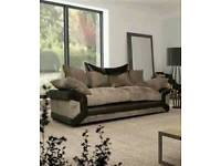 3 seater cord and leather sofa