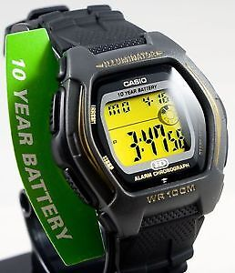 Casio Digital Watch Gold 100M WR Sport 10 Year Battery New100%