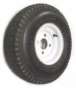 "5.70 X 8"" 4 PR Bias Trailer Tire Mounted 8"" 4 Lug White Steel Wheel LRB G-BALL"