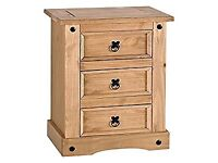 Corona pine bedside table with draws, like new