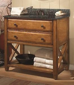 2 drawers oak vanity by Luxo Marbre