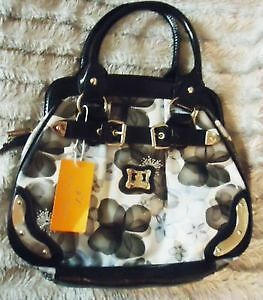 Feng Chun Black & White Floral Print Satchel / Purse - NEW!!!