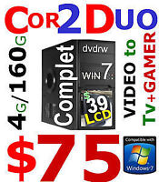tower core2duo 4gb 160gb dvdrw complet win7 75$