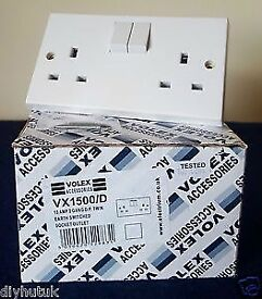 Brand New Volex 13A 2 Gang SP Switched Socket, White, 5 Boxes. Total 25 sockets.