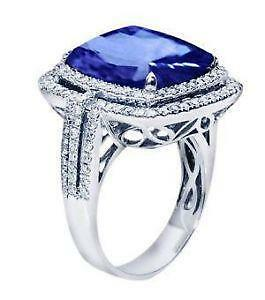 item diamond natural new white tanzanite rings gold engagement ring cushion style