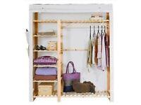Cream fabric and wooden wardrobe