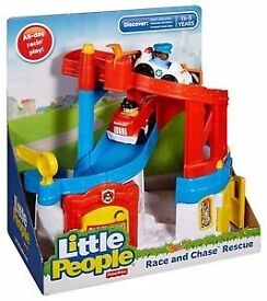 Fisher Price Little People Race and Chase Wheelies Playset