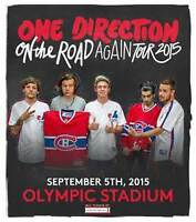 ONE DIRECTION -3 tickets PARTERRE - Montreal 5 septembre 2015