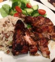 JERK CHICKEN AND RICE AND PEA'S