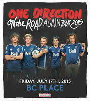 For Sale 2 One Direction Tickets for Vancouver July 17, 2015