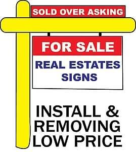 REAL ESTATE SIGNS POST installed