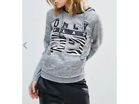 Only Play Zebra and Grey Hood Sweat - Size S/ UK 10