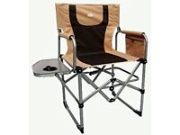 PAIR Royal Compact Folding Directors Chair Beige/Brown BRAND NEW STOCK CLEARANCE