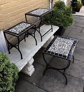 3-Piece Solid Wrought-Iron Nesting Tables Set -$220