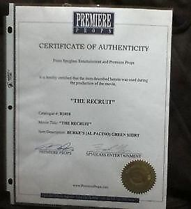 AL PACINO SHIRT  WITH COA  WORN IN THE MOVIE THE RECRUIT Cornwall Ontario image 1