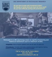 Clutter or Difficulty Discarding?Participate for UBC Psychology