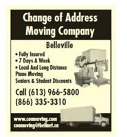 BELLEVILLE'S MOVING CO....(613) 966-5800..FREE QUOTES....