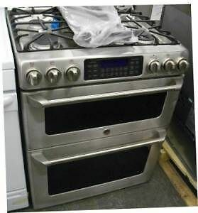 Ge cafe 30 quot stainless double oven slide in range no box