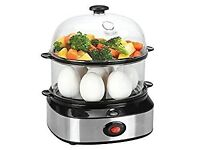 Double Tier Electric Multi Function Egg Cooker With Poacher and Steamer Attachments
