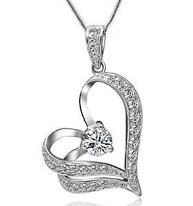 Gorgeous NEW white gold filled heart necklace
