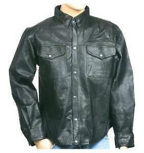 Shirt With Leather Sleeves Mens