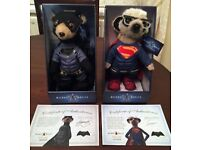 Batman and superman meerkat toys