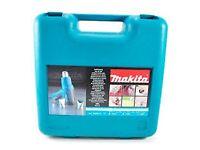 BNIB Makita Heat Gun in Tough Case with reflector nozzle, glass protection nozzle, wide slot tools