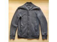 All Saints Navy Fleece Baseball Jacket, Small