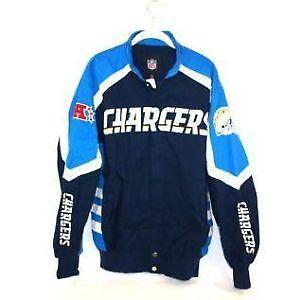 Mens San Diego Chargers Navy Blue Front and Sleeve Full Zip Jacket