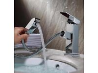BRAND NEW BOXED Chrome Pull Out Kitchen Sink Spray Mixer Tap Bath Basin Faucet Swivel Hose Spout