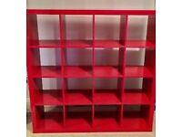 Beautiful Ikea Kallax shelving unit in red for sale!