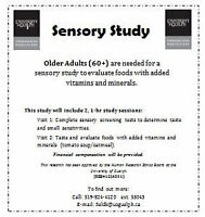 Older Adults (60+) needed for a Sensory Study!