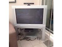 "Phillips 26.5"" TV and stand with glass shelf"
