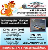 COUVREURE,TOITURE, ESTIMATION 7/7 ROOF,MEMBRANES ÉLASTOMÈRE,TOIT